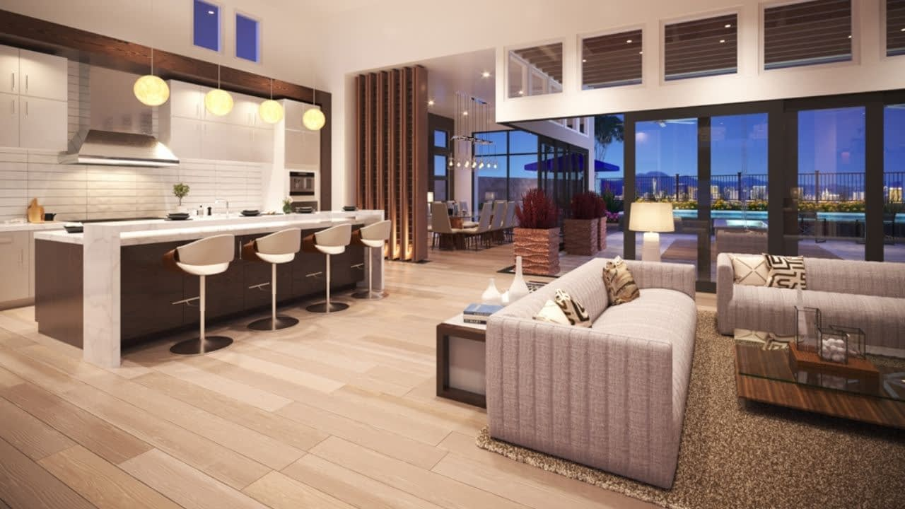 Mesa Ridge is a neighborhood in The Mesa Village in Summerlin, Las Vegas. Built by Toll Brothers, Mesa Ridge is a guard-gated, luxury community of 322 homes with 14 models ranging in size from 3,000 to 5,000 sq.